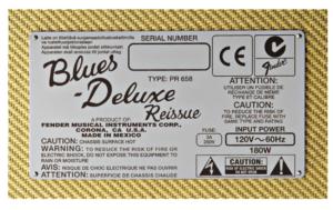 Fender Blues Deluxe Reissue plaque référence